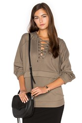 The Kooples Lace Up Hoodie Olive