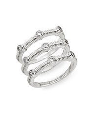 Saks Fifth Avenue White Stone Coil Ring Set Silver