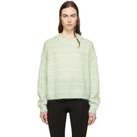 Acne Studios Green And Off White Striped Kassidy Sweater