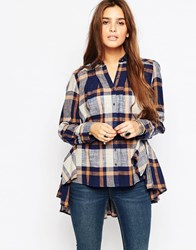 Free People Peppy Plaid Button Down Shirt Blue