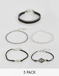New Look 5 Pack Grunge Bracelet Set Black