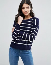Brave Soul Nautical Stripe Jumper Navy White