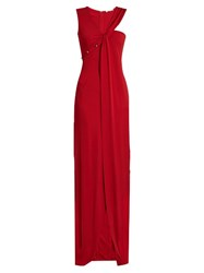 Thierry Mugler Asymmetric Neckline Sleeveless Gown Red