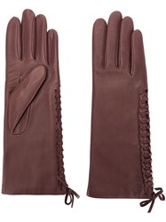 Agnelle Gloves With Lace Detail Red