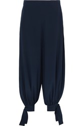 Stella Mccartney Tie Detailed Silk Crepe De Chine Pants Navy