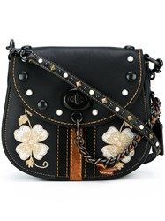 Coach Embroidered Flower Crossbody Bag Black