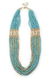 Sole Society Multistrand Beaded Necklace Teal Combo