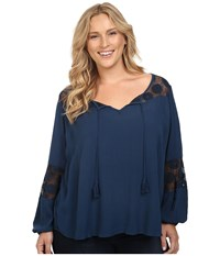 Roper Plus Size 0445 Crepe Top Blue Women's Clothing