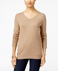 Jm Collection V Neck Button Cuff Sweater Only At Macy's Acorn Heather