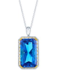 Lali Jewels Swiss Blue Topaz 104 3 4 Ct. T.W. And Diamond 9 10 Ct. T.W. Pendant Necklace In 18K White And Yellow Gold