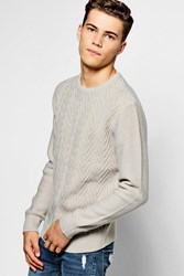 Crew Neck Jumper With Chevron Knit Front