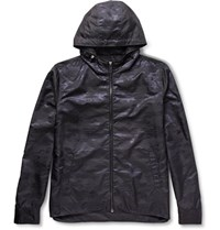 Berluti Shell Jacquard Hooded Jacket Navy