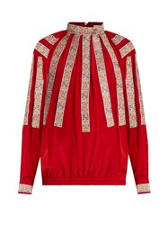Stella Jean Scendere Jacquard Applique Silk Blouse Red Multi