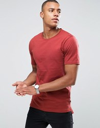 Only And Sons T Shirt In Fine Stripe With Drop Back Hem Red