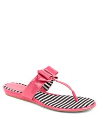 Arturo Chiang Beccaa Patent Leather Bow Thong Sandals Pink