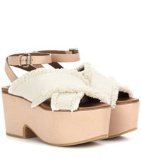 See By Chloe Canvas And Leather Platform Sandals White