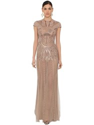 Zuhair Murad Long Embellished Tulle Dress Taupe