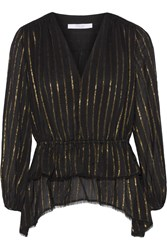 10 Crosby By Derek Lam Ruffled Striped Georgette Top Black