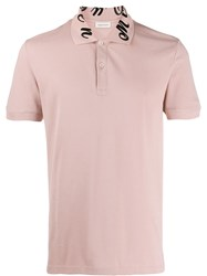 Alexander Mcqueen Embroidered Signature Collar Polo Shirt Pink