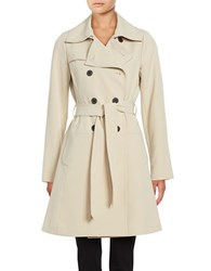 Diane Von Furstenberg Long Sleeve Double Breasted Trench Coat Grey