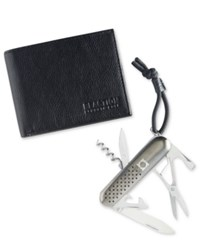 Kenneth Cole Reaction Men's Leather Slim Passcase Wallet And Utility Tool Black