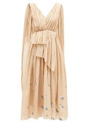 Vika Gazinskaya Painted Dot Cotton Blend Voile Dress Beige