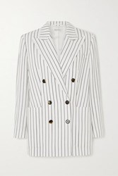 Bella Freud Bianca Double Breasted Pinstriped Woven Blazer White
