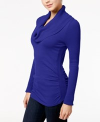 It's Our Time Juniors' Cowl Neck Sweater Faded Indigo