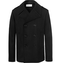 Saint Laurent Leather Trimmed Double Breasted Virgin Wool Peacoat Black