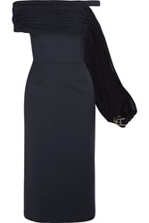 Gabriela Hearst Kyteler Embellished Off The Shoulder Plisse Trimmed Wool Blend Dress Navy