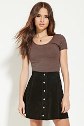 Forever 21 Striped Scoop Neck Tee Black Tan