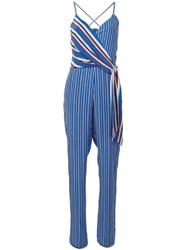 Rag And Bone Striped V Neck Jumpsuit Blue