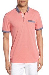Ted Baker Men's London Shapiro Extra Trim Fit Oxford Polo Coral