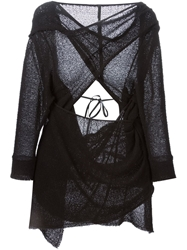 Barbara I Gongini Asymmetric Open Back Cardigan Black