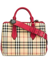 Burberry 'House Check' Tote Red
