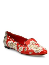 Alexander Mcqueen Floral Embroidered Leather Loafers Red Multi