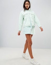 Waven Ina Pocketed A Line Denim Skirt Pale Mint Green