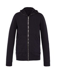 Rick Owens Drkshdw Full Zip Cotton Hooded Sweatshirt Indigo