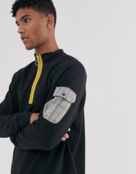 Brooklyn Supply Co. Co Funnel Neck Sweatshirt With Check Pocket In Black