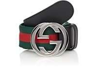 Gucci Men's Striped Elastic And Leather Belt Green