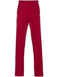 Valentino Contrasting Band Track Pants Red