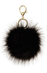 Women's Robert Rose Faux Fur Pompom Bag Charm Black Black Gold