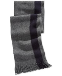 Nautica Side Striped Fringed Scarf Granite Heather Navy Seas