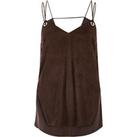 River Island Womens Brown Faux Suede Eyelet Cami