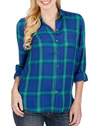 Lucky Brand Rolled Up Plaid Shirt Green