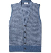 Inis Meain Cotton Cashmere Silk And Linen Blend Vest Blue