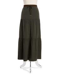 Jones New York Drawstring Tiered Maxi Skirt Olive