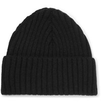 Sunspel Ribbed Wool Beanie Black