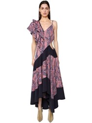 Loewe Asymmetrical Printed Light Cotton Dress Multicolor