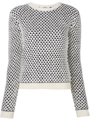 Julien David Heart Pattern Jumper White